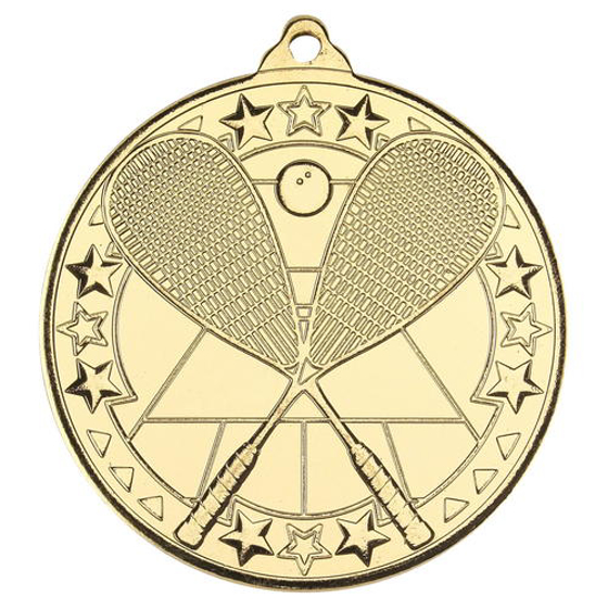 Picture of Squash 'tri Star' Medal - Gold 2in (50mm)