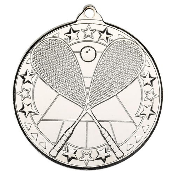 Picture of Squash 'tri Star' Medal - Silver 2in (50mm)