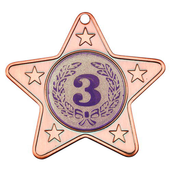 Picture of Star Shaped Medal With 5 Mini Stars (1in Centre) - Bronze 2in (50mm)