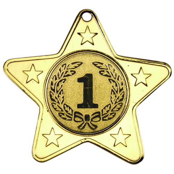 Picture of Star Shaped Medal With 5 Mini Stars (1in Centre) - Gold 2in (50mm)