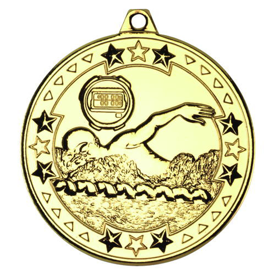 Picture of Swimming 'tri Star' Medal - Gold 2in (50mm)