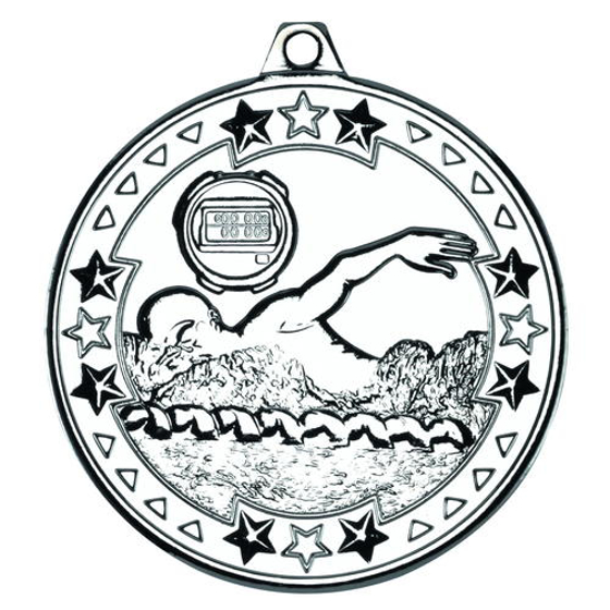 Picture of Swimming 'tri Star' Medal - Silver 2in (50mm)