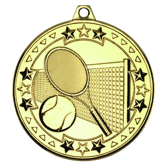 Picture of Tennis 'tri Star' Medal - Gold 2in (50mm)