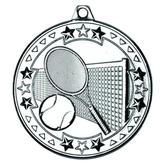 Picture of Tennis 'tri Star' Medal - Silver 2in (50mm)