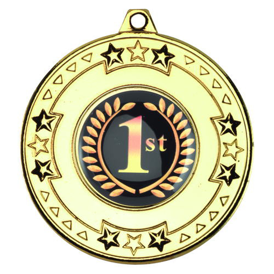 Picture of Tri Star Medal (1in Centre) - Gold 2in (50mm)