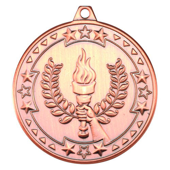 Picture of Victory Torch 'tri Star' Medal - Bronze 2in (50mm)
