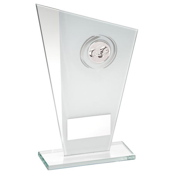 Picture of White/silver Printed Glass Plaque With Lawn Bowls Insert Trophy - 6.5in (165mm)