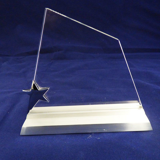 Picture of Glass Siver Star Award. 130mm