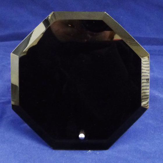 Picture of Octagon Shaped Black Glass Award. 150mm