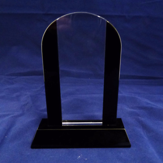 Picture of Arched shaped glass award with black glass edges 180mm