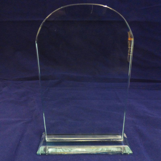 Picture of Clear Arched Shaped Glass Award. 225mm
