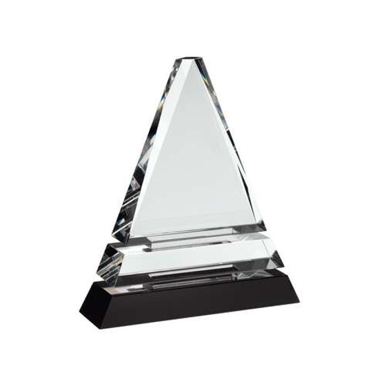 Picture of Clear Glass Pyramid On Black Base 140mm
