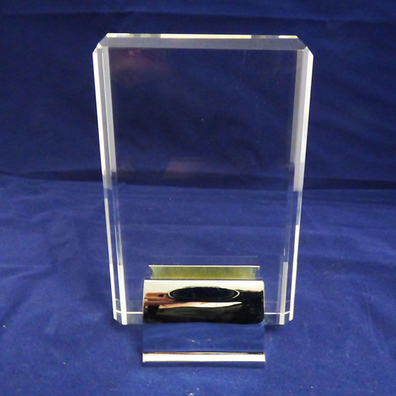 Picture of Rectangular Glass block with silver base. 165mm