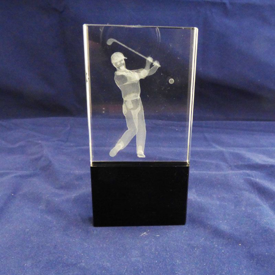 Picture of Glass Golf block with lasered golfer. 135mm