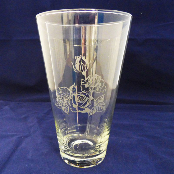 Picture of Glass Vase with Rose Engraving. 205mm