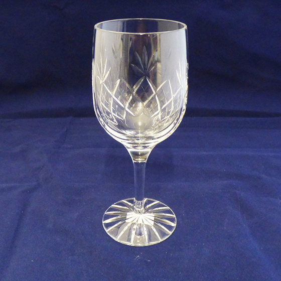 Picture of Glass Cut Panel Wine Glass / Goblet. 180mm