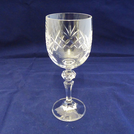 Picture of Tall Cut Panel Wine Glass / Goblet with Detailed Stem. 170mm