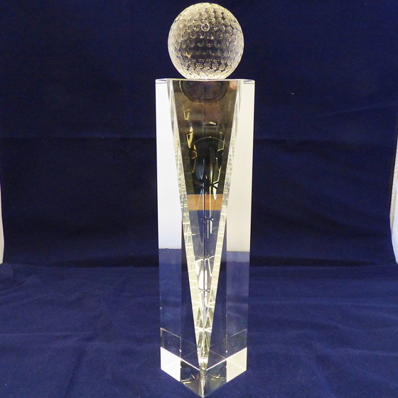 Picture of Glass golf ball on a tall glass pedestal. 300mm