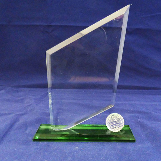 Picture of Glass Diamond Shape Golf Award. 190mm