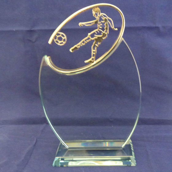 Picture of Glass Silver Topped Football Award. 235mm