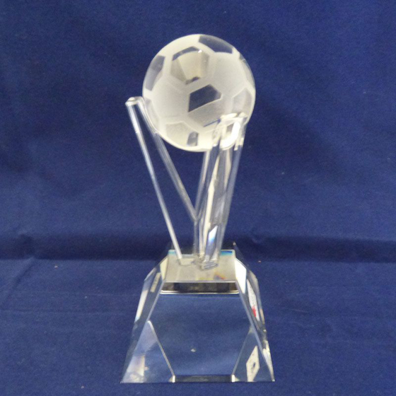 Picture of V Glass Football Award. 135mm.