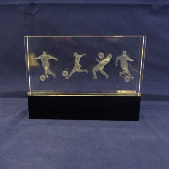 Picture of Glass Block Football Award with Black Base.