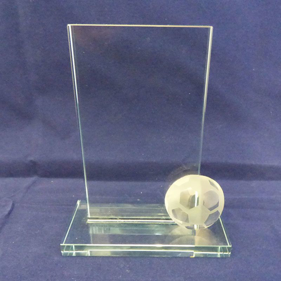 Picture of Clear Glass Football Plaque. 135mm