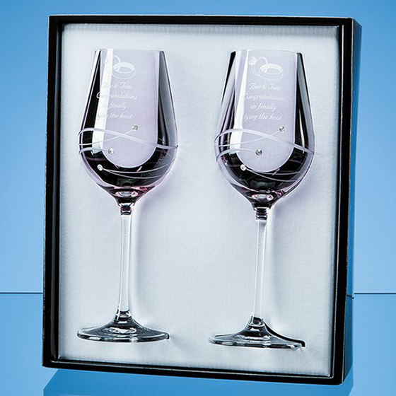 Picture of 2 Pink Diamante Wine Glasses with Spiral Design Cutting in an attractive Gift Box