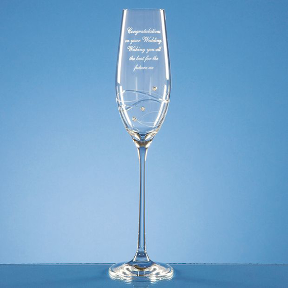 Picture of Single Diamante Champagne Flute with Spiral Design Cutting