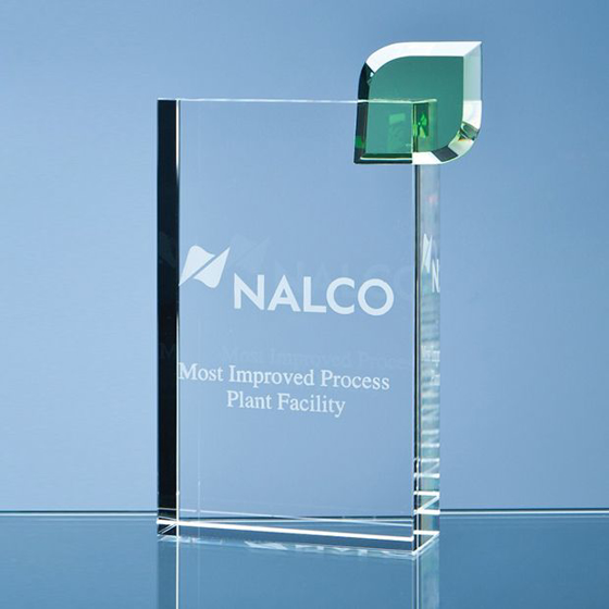 Picture of Glass Rectangular Block with single green leaf. 170mm