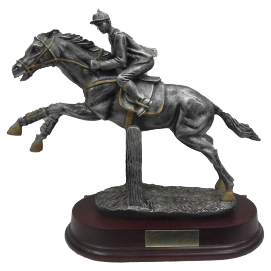 Picture of Racehorse on a mahogany plinth 235mm