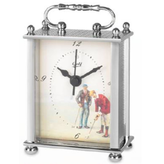 Picture of Golfers carriage clock silver toned 90mm