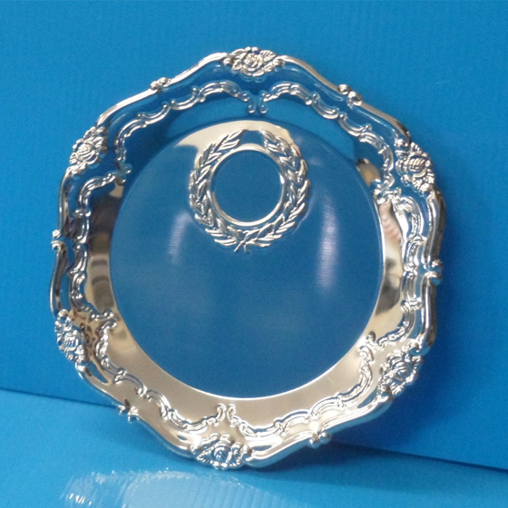 Picture of Silver Coloured patterned edge salver with laurel 5.5""