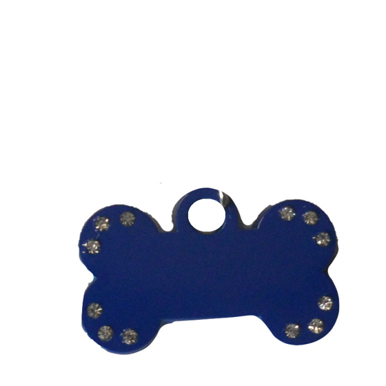 Picture of Aluminium Bone 38 mm Pet Tag with Crystals